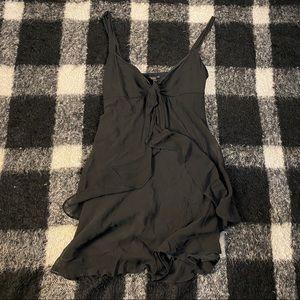Vtg 90s Y2K silk black chiffon dress lg